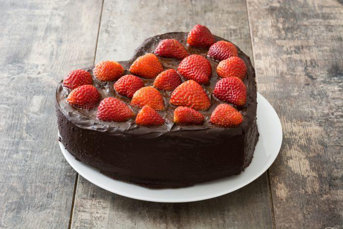Chocolate Strawberry Heart Cake