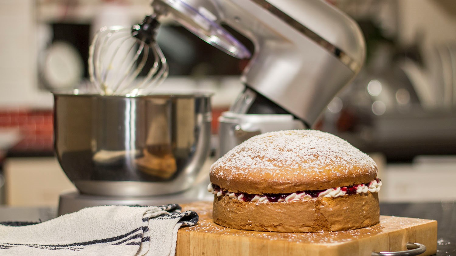 Victoria sponge cake in front of stand mixer
