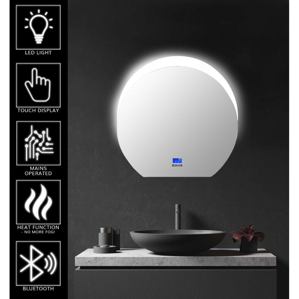 Round Led Bathroom Mirror Speaker Demister Jack Stonehouse
