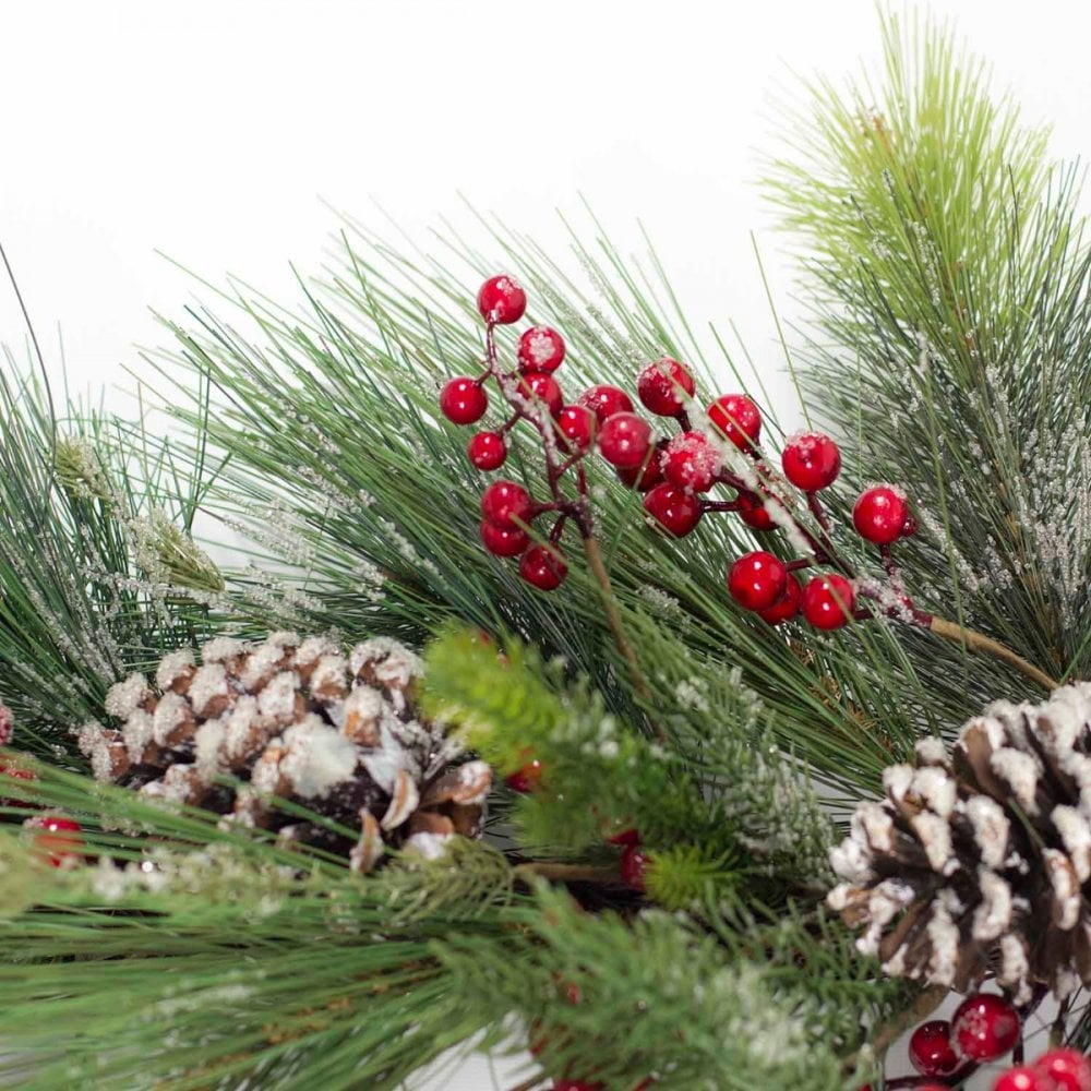 Berry Frosted Pine Cone Pre Lit Xmas Wreath Jack Stonehouse